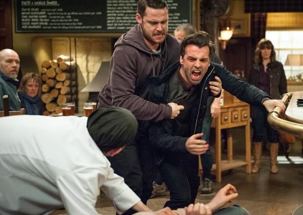 Emmerdale, Pierce hits Paddy, Wed 23 Mar