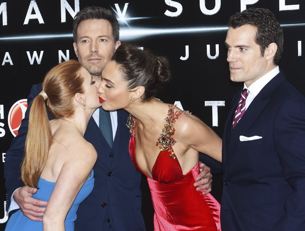 (L-R) Amy Adams, Ben Affleck, Gal Gadot and Henry Cavill attend the European Premiere of 'Batman V Superman: Dawn Of Justice' at Odeon Leicester Square on March 22, 2016 in London, England.