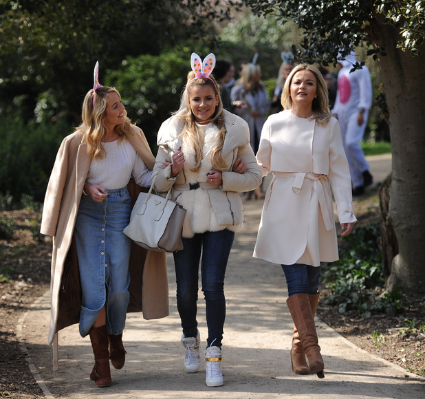 TOWIE's Georgia Kousoulou, Georgia Bright and Lydia Bright on an Easter egg hunt at Forty Hall in Enfield, 22nd March 2016