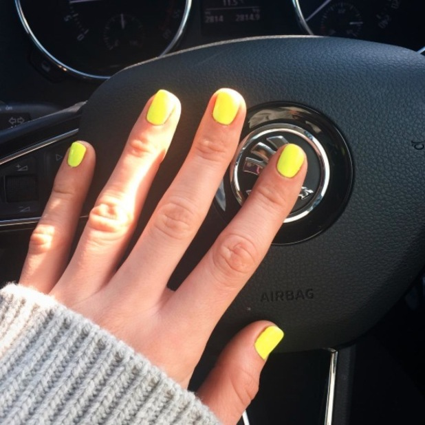 Vogue Williams shows off her neon yellow nails ahead of summer, 23rd March 2016