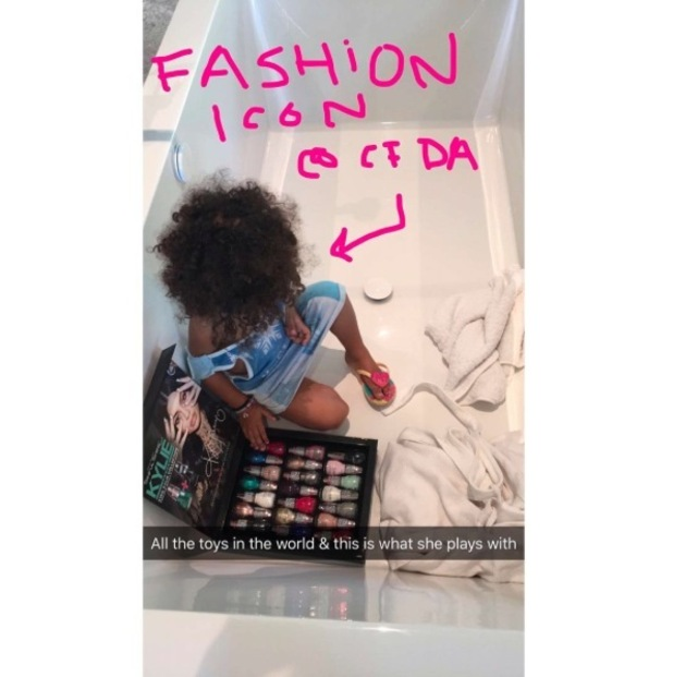 Kim Kardashian shares picture of North West playing with Kylie Jenner's Sinful Colors nail polish collection, 21st March 2016