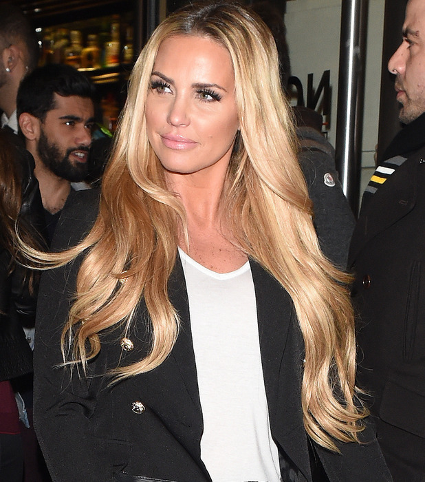 Katie Price shows off her longer hair extensions courtesy of hairdresser Mikey Kardashian, 23rd March 2016