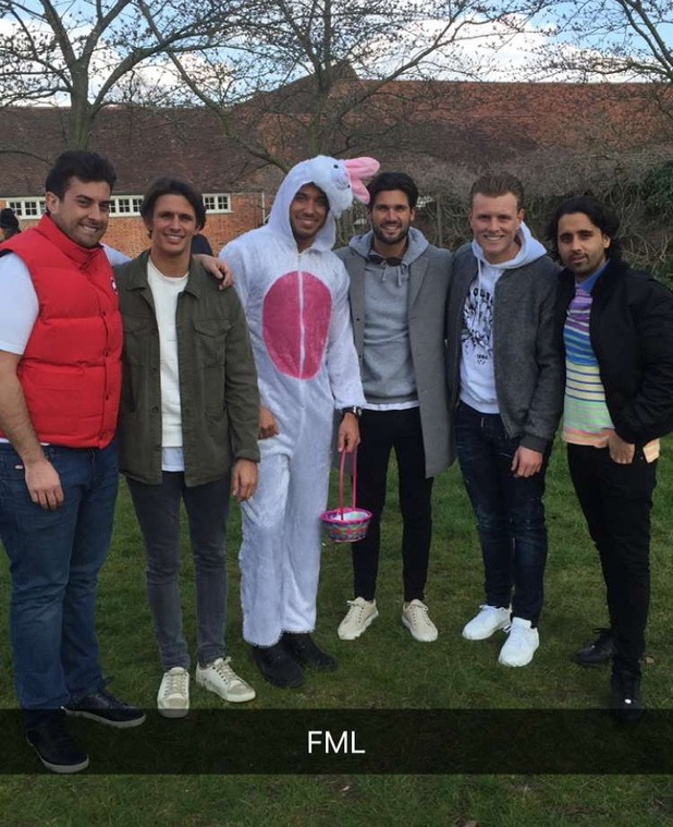 The TOWIE Cast are seen filming an Easter egg hunt on March 22, 2016 in Enfield, London.