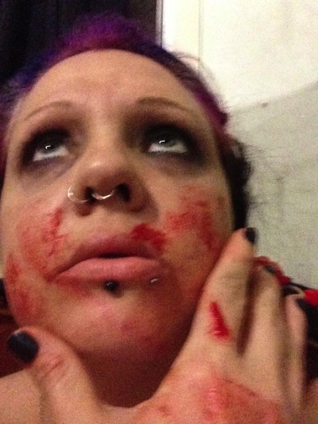 Georgina Condon drinking blood