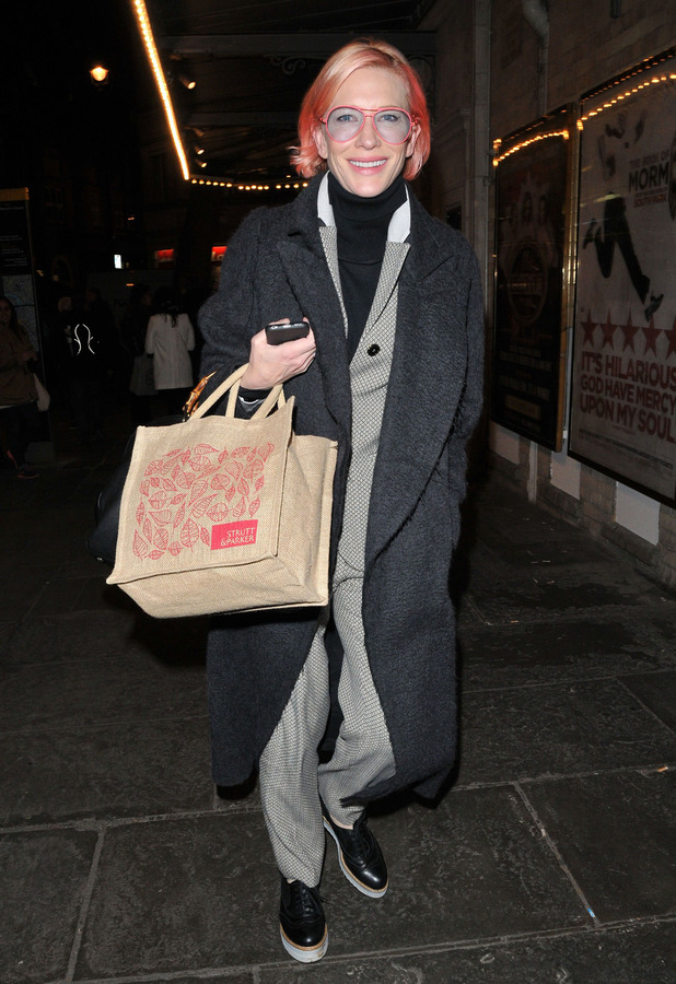 Cate Blanchett shows off her pink hair while out and about in London, England, 23rd March 2016
