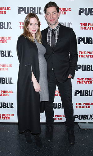 Opening night party for the play Dry Powder at the Public Theater - Arrivals. Emily Blunt and John Krasinski