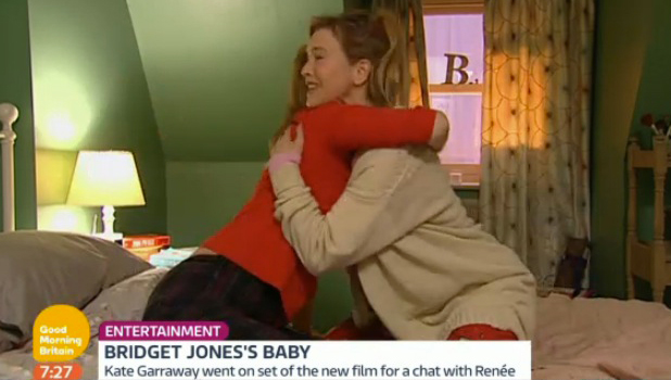 Kate Garraway meets Renee Zellweger on Bridget Jones' Baby set, March 2016