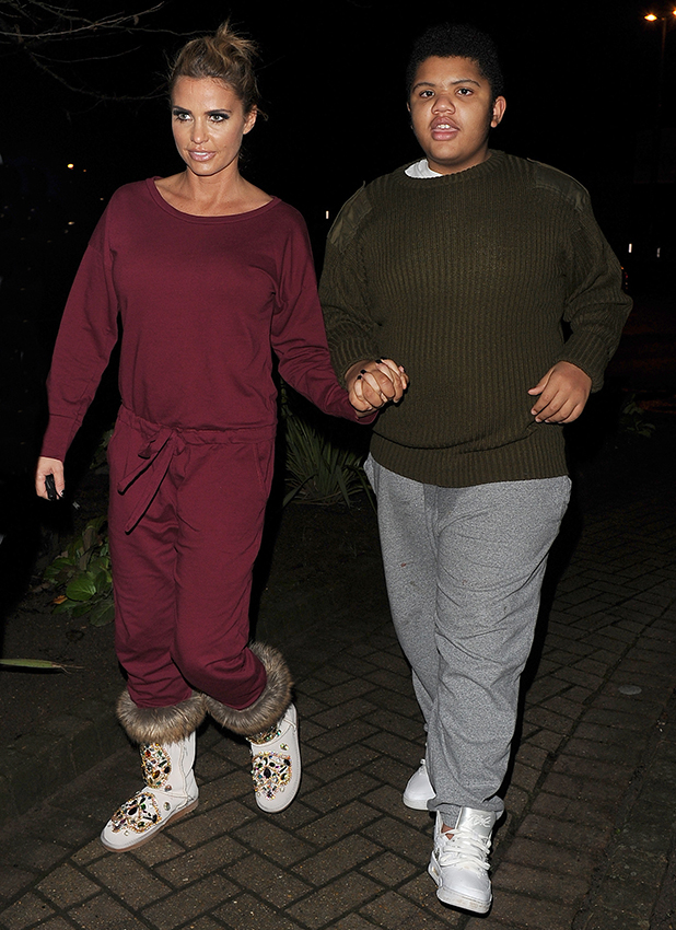Katie Price leaves the New Victoria Theatre in Woking, with her two sons Harvey Price and Junior Andre