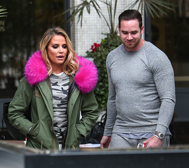 Katie Price leaves the ITV studios, with her husband Keiran Hayler, after her appearance on Loose Women