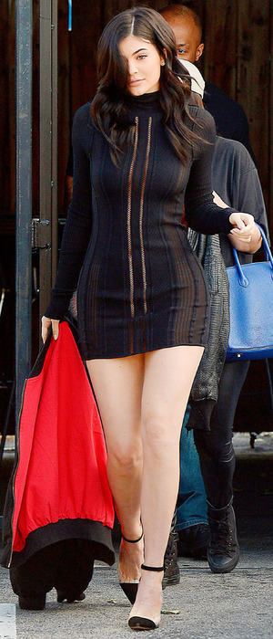 Kylie Jenner spotted out and about in Los Angeles, wearing short dress, 27th March 2016