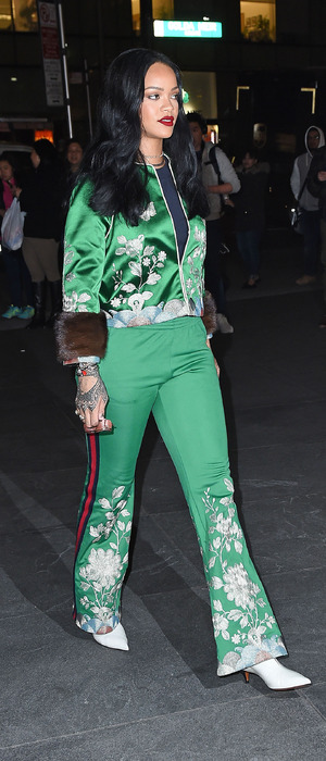 Rihanna wears bright green two-piece while out and about in New York, 28th March 2016