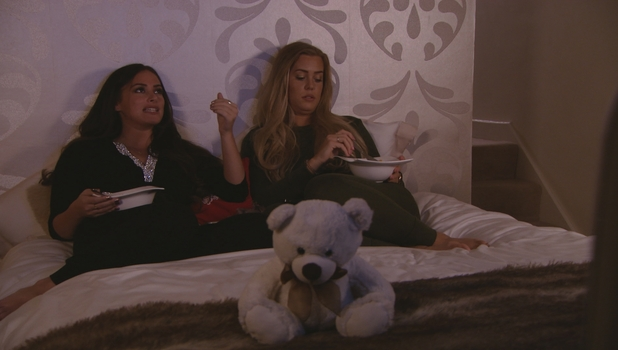 TOWIE preview: Chloe Meadows and Courtney Green gossip in bed, 3 April 2016.