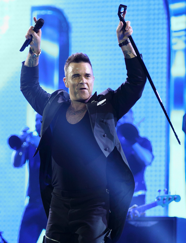 Robbie Williams performing live in concert. 14 Oct 2015.