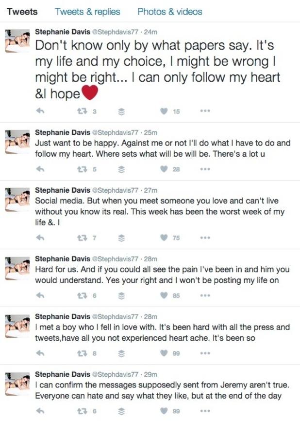 Stephanie tweets on Jeremy split. 29 March 2016.