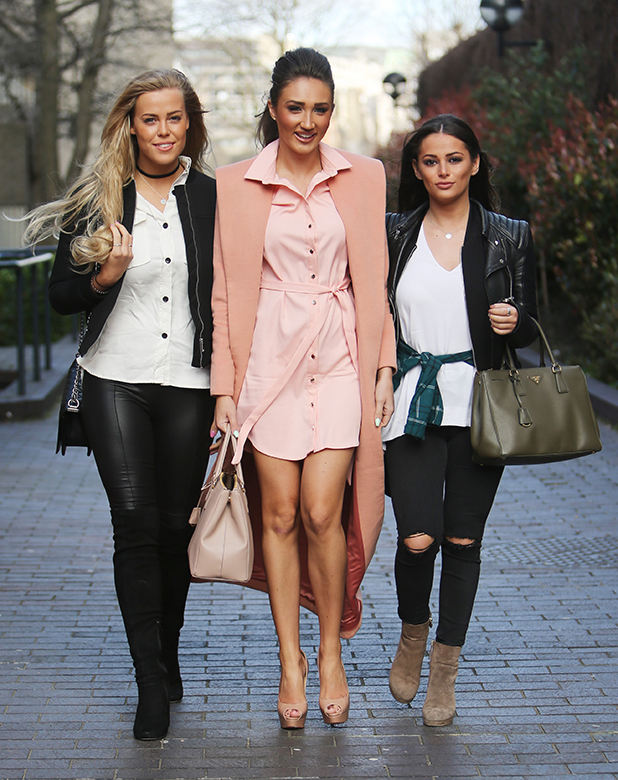 Megan McKenna, Courtney Green and Chloe Meadows outside ITV Studios 29 March 2016