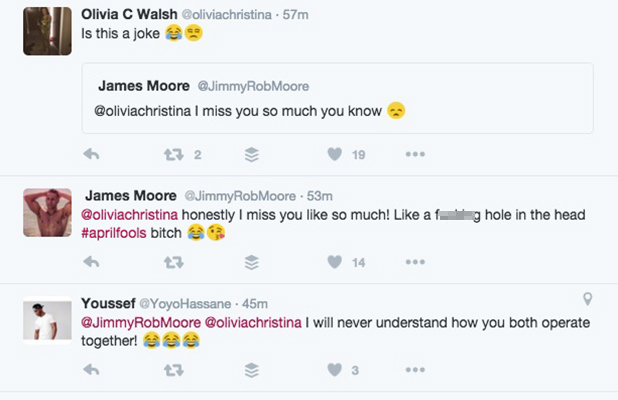 James Moore plays April Fool on ex-girlfriend Olivia Walsh 1 April 2016