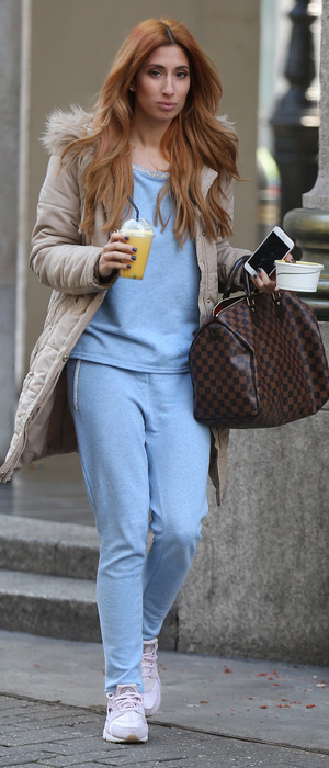 Stacey Solomon seen leaving Whiteley's in blue tracksuit, London, 5th April 2016