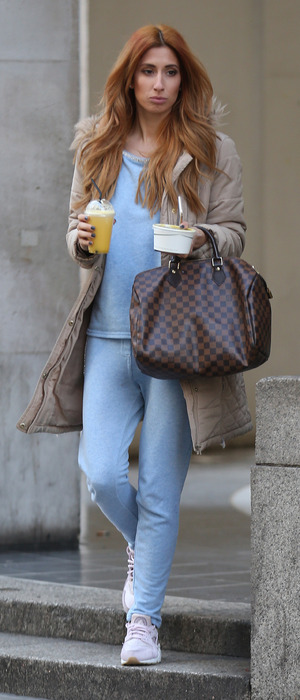 Stacey Solomon wearing blue tracksuit out and about in London, 5th April 2016