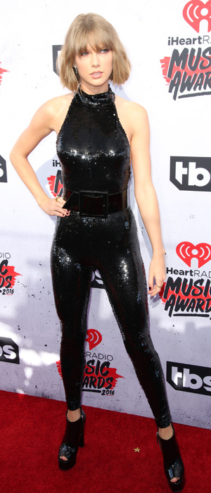 Singer songwriter Taylor Swift wears sequin jumpsuit to the the iHeartRadio Awards at The Forum in Los Angeles, 3rd April 2016