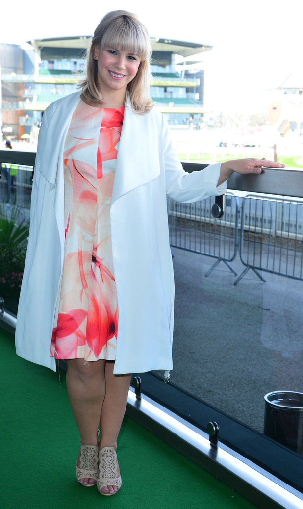 Hollyoaks' Jessica at Aintree races. 8 April 2016.