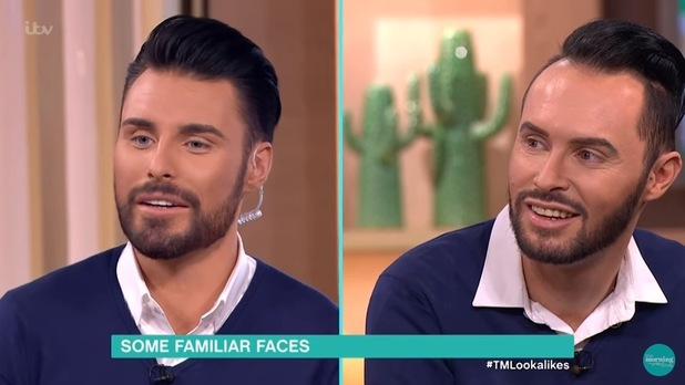 Rylan Clark-Neal and his lookalike Danny Maczka on This Morning. 8 April 2016.