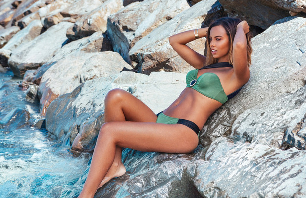 Rochelle Humes lifts the lid on her first swimwear collection with Very.co.uk, Green bikini, 6th April