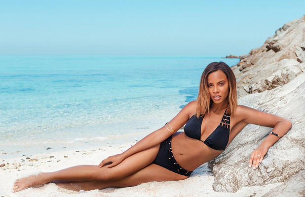 Rochelle Humes shows off her swimwear collection in collaboration with Very.co.uk, Black Bikini, 6th April 2016