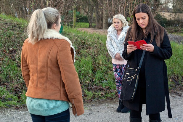Esther steals Kath's passport so that Lindsey can use it to escape, and goes to meet her blackmailer. Hollyoaks, 8 April 2016