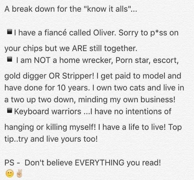 Rhian Sugden slams online trolls on Instagram amid Vernon Kay texting reports. 4 April.