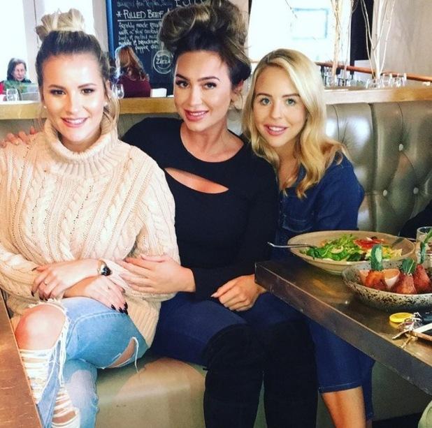 TOWIE's Lydia and Georgia bump into Lauren Goodger. 4 April 2016.