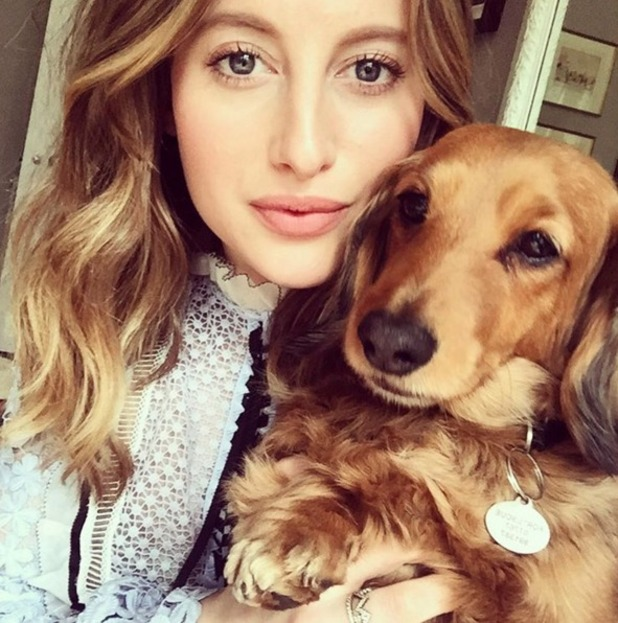 """Rosie Fortescue selfie with dog, """"same hair, same stare,"""" 3 April 2016"""