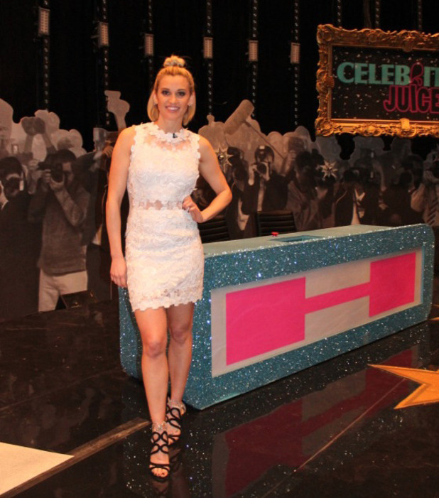 Ashley Roberts wearing Topshop as she films Celebrity Juice, London, 6th March 2016