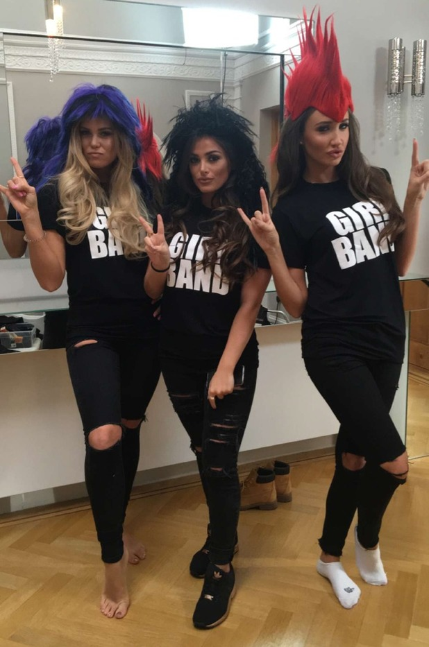 TOWIE's Megan McKenna, Chloe Meadows and Courtney Green wear Girlband T-shirt. 7 April 2016.