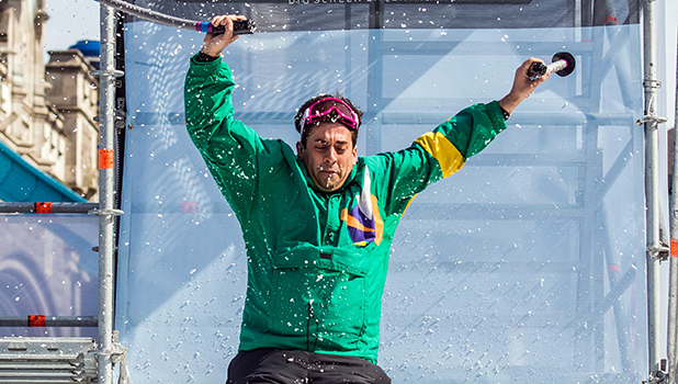 Vue Entertainment challenged TOWIE stars James Argent and James Locke to #FlyLikeAnEagle in a free fall stunt on Saturday next to London's Tower Bridge