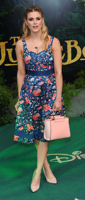 Former Made In Chelsea star Ashley James wears floral Oasis dress at the European Premiere of The Jungle Book, 13th April 2016