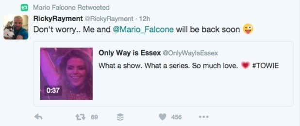 Ricky Rayment teases TOWIE return with Mario Falcone 13 April