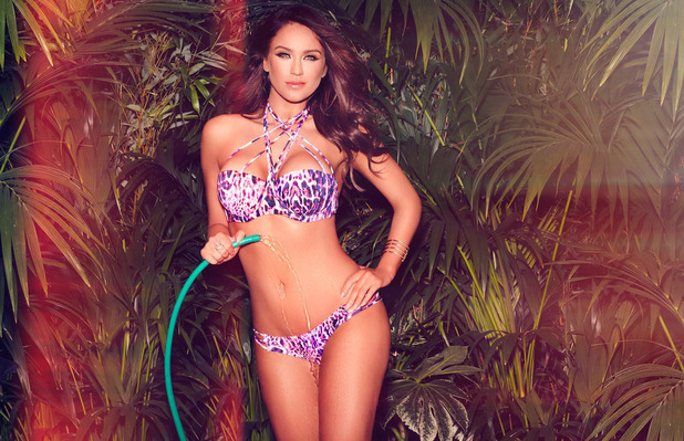 Geordie Shore star Vicky Pattison is announced as Ann Summers' newest ambassador and she shows off their swimwear range in latest campaign pictures (pink leopard print bikini) 12th April 2016