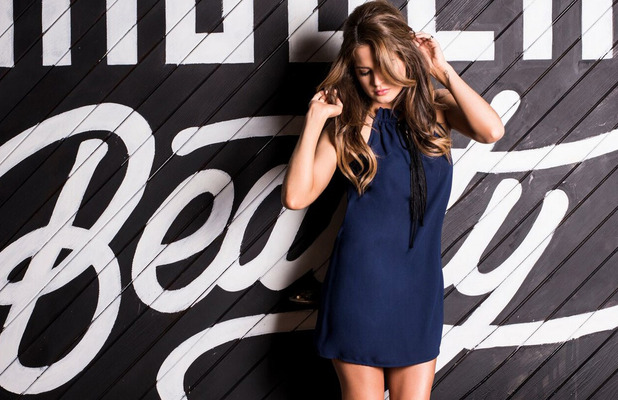 Made In Chelsea's Binky Felstead models her new In The Style collection, blue swish dress, £27.99