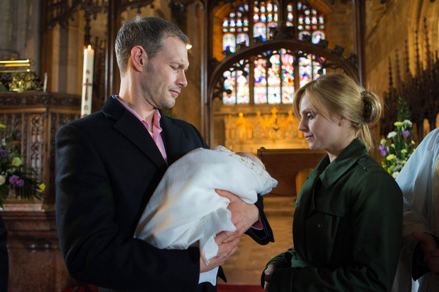 Corrie, Sarah freaks out at Harry's christening, Mon 18 Apr