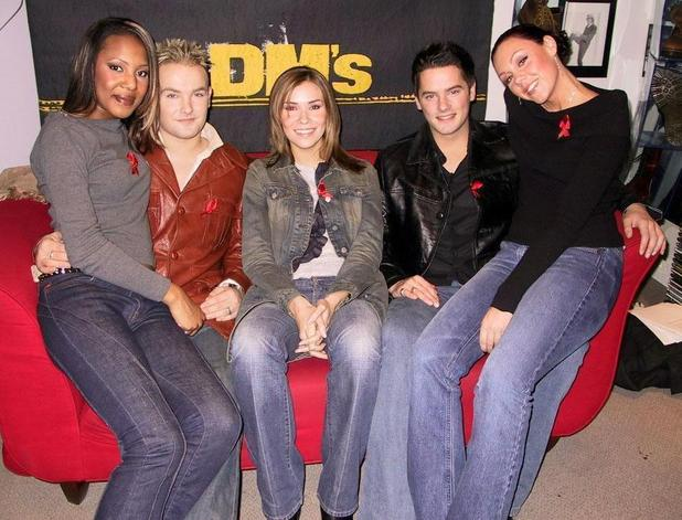 Pop band Liberty promoting World AIDS day sponsored by Dr Martens shoes. November 2001.