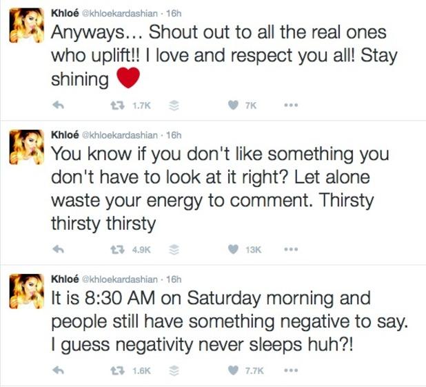 Khloe Kardashian hits back at haters, 16 April 2016.