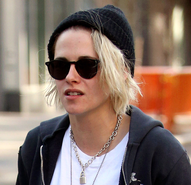 Kristen Stewart shows off her much blonder hair in New York as she strolls alongside girlfriend Soko, 12th April 2016