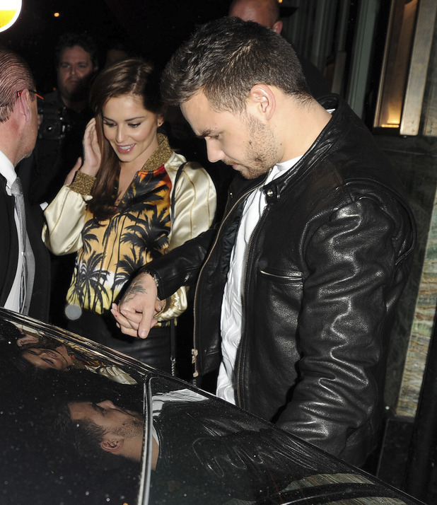 Liam Payne and Cheryl pictured leaving sexy fish restaurant in London together after a night out. 12 Aril 2016.