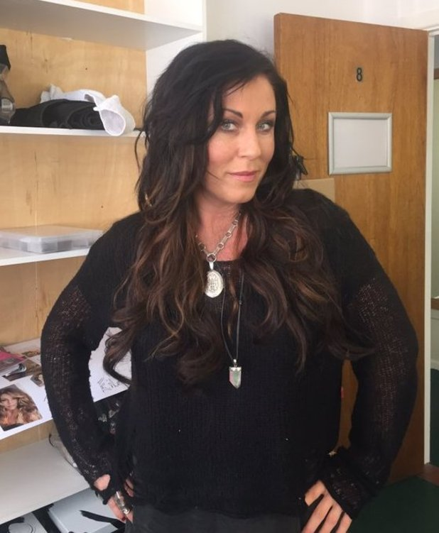 Jessie Wallace unveils new hair extensions as she films Redwater. April 2016.