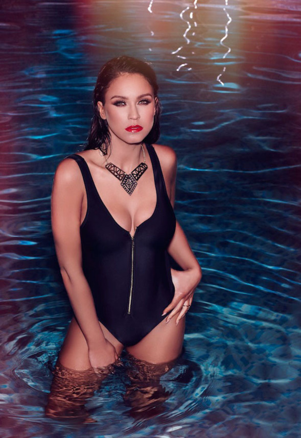 Geordie Shore star Vicky Pattison is announced as Ann Summers' newest ambassador and she shows off their swimwear range in latest campaign pictures (black zip swimsuit) 12th April 2016