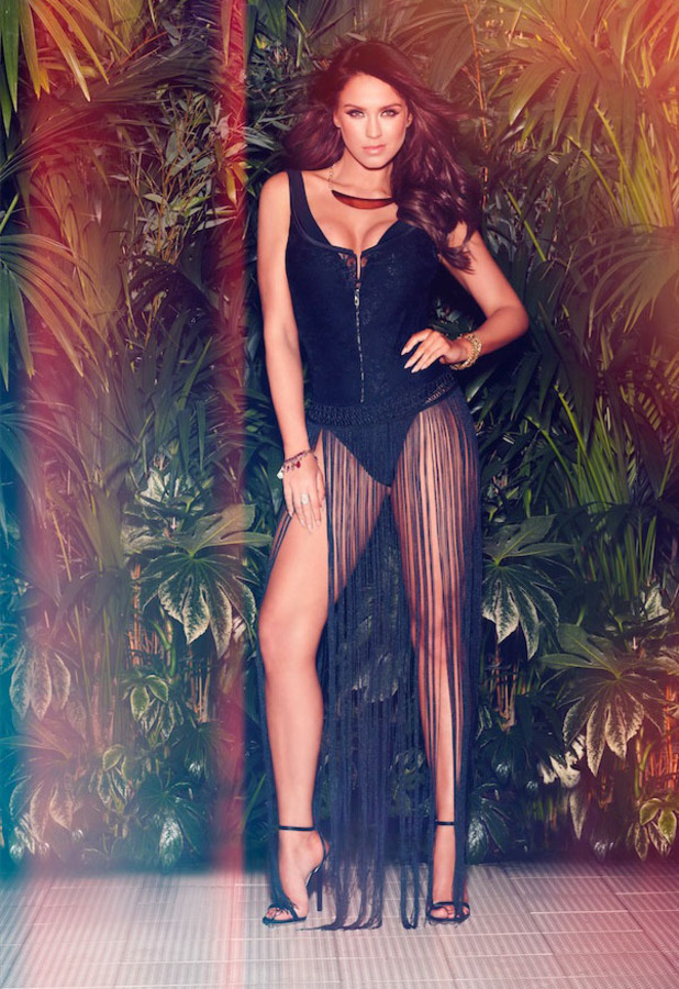 Geordie Shore star Vicky Pattison is announced as Ann Summers' newest ambassador and she shows off their swimwear range in latest campaign pictures (fringed cover up over black swimsuit) 12th April 2016