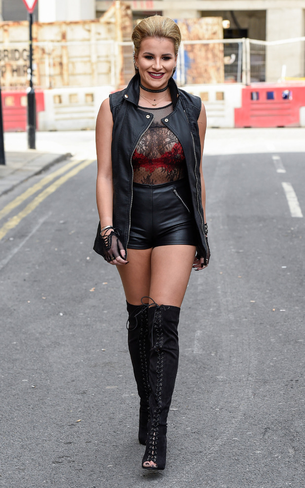 TOWIE'S Georgia Kousoulou filming punk-themed finale at Egg night-club in London, 10th April 2016