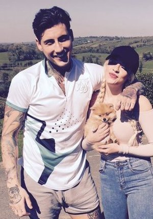 Jeremy McConnell and Stephanie Davis welcome a new addition - a puppy called Simba. 20 April 2016.