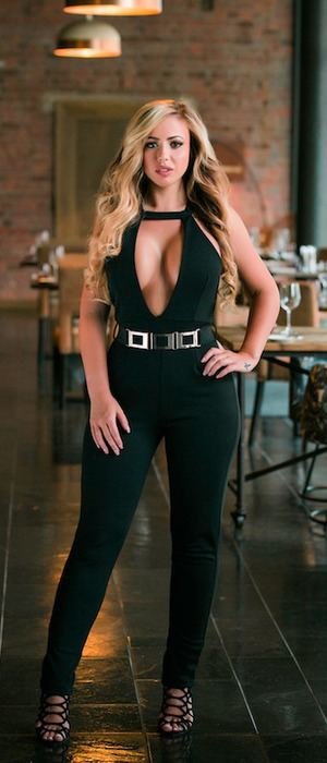 Geordie Shore's Holly Hagan unveils new online fashion collection with Want That Trend, black jumpsuit, 19th April 2016