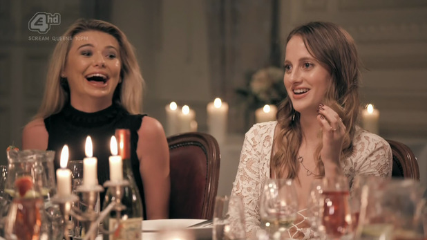 Made In Chelsea: Toff talks to Rosie about Richard during Ollie Lockes dinner party. 3 November 2015.